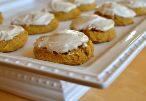 Pumpkin Spice Cookies with RumChata Cream Cheese Frosting