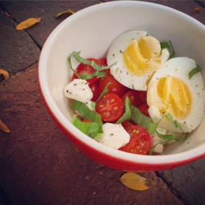caprese eggs -- waiting for balsamic drizzle