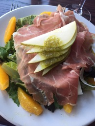 prosciutto, manchego, pears, oranges, figs, and parsley vinaigrette